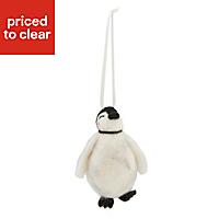 Grey Felted penguin Decoration