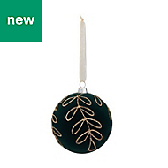 Sycamore green Flocked effect Leaf Bauble