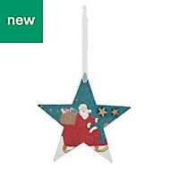 Multicolour Glitter effect Santa Decoration