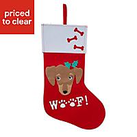 Red & white Woof Stocking