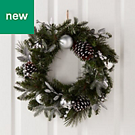 50cm Silver baubles, berries & pine cones Wreath