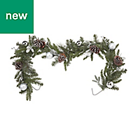 1.8m Silver baubles, berries & pine cones Garland