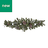 Silver baubles, berries & pine cones Christmas swag