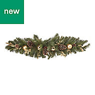 Baubles, berries & pine cone Christmas swag