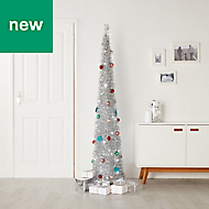 6ft Trevalli Silver pop up Pre-lit artificial Christmas tree