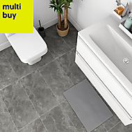 Mulligan Anthracite Matt Stone effect Ceramic Floor tile, Pack of 6, (L)600mm (W)300mm