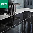 Livourne Black Porcelain Floor tile, (L)600mm (W)600mm, Sample