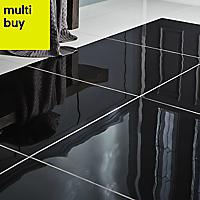 Livourne Black Porcelain Wall & floor tile, Pack of 3, (L)600mm (W)600mm
