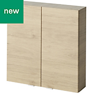 GoodHome Imandra Oak effect Double Door Wall Cabinet, (W)600mm, (H)600mm