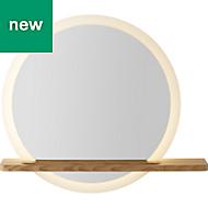 GoodHome Adriska Illuminated Round Bathroom Mirror with Shelf (W)800mm (H)25mm