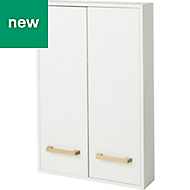 GoodHome Ladoga White Double door wall cabinet, (W)600mm, (H)900mm