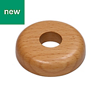 GoodHome DECOR 165 Wood Beech effect Pipe collars (Dia)16mm, Pack of 2