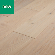 GoodHome Agung Vintage grey Oak Real wood top layer flooring, 2.05m² Pack