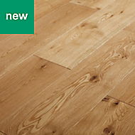 GoodHome Ystad Natural Oak Solid wood flooring, 1.44m² Pack