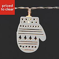 10 White LED Mitten & hat String lights