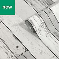GoodHome Laas Grey Wood effect Wallpaper