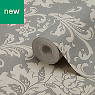 GoodHome Mire Grey Damask Wallpaper