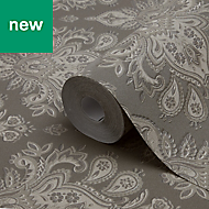 GoodHome Abeli Brown Russian Damask Metallic Effect Wallpaper
