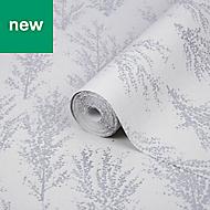 GoodHome Jatoba White Tree Silver glitter effect Wallpaper