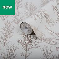 GoodHome Jatoba Beige Tree Rose gold glitter effect Wallpaper
