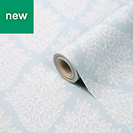 Acinos Blue & white Leaves Wallpaper
