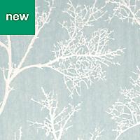 GoodHome Drave Blue & white Tree Glitter effect Wallpaper