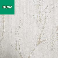 GoodHome Drave Beige Tree Glitter effect Wallpaper