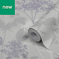 GoodHome Esseri Grey, purple & white Tree Smooth Wallpaper