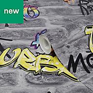 GoodHome Orobe Grey Graffiti brick Wallpaper