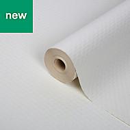 GoodHome Rivina White Plain Woven effect Wallpaper