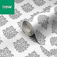 GoodHome Cloezia Grey & white Damask Wallpaper