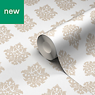 GoodHome Cloezia Beige & white Damask Wallpaper