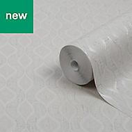GoodHome Nitida Beige Art deco Glitter effect Wallpaper