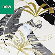 GoodHome Selago Black, gold & white Leaf Metallic Effect Wallpaper