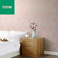 GoodHome Loroco Beige & Pink Leaves Metallic effect Wallpaper