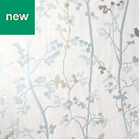 GoodHome Bromus Blue Floral Metallic effect Wallpaper