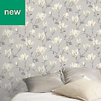 GoodHome Leuzea Grey Floral Smooth Wallpaper