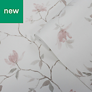 GoodHome Mugga Pink Floral Textured Wallpaper