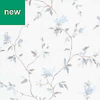 GoodHome Mugga Blue Floral Textured Wallpaper