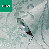 GoodHome Hirta Duck egg Floral Textured Wallpaper