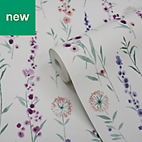 GoodHome Bifora Purple Floral Wallpaper