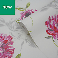 GoodHome Neoti Pink Floral Textured Wallpaper