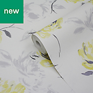 GoodHome Neoti Yellow Floral Wallpaper