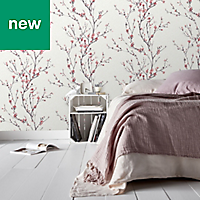 GoodHome Teff Pink Floral Wallpaper