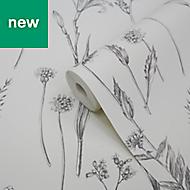 GoodHome Conyza Grey & white Floral Wallpaper