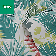 GoodHome Ferula Green Tropical leaves Wallpaper