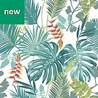 GoodHome Ferula Green Tropical leaves Textured Wallpaper