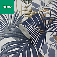 GoodHome Ferula Blue Tropical leaves Wallpaper