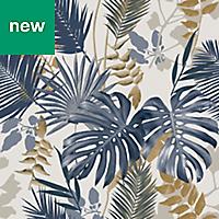 GoodHome Ferula Blue Tropical leaves Wallpaper