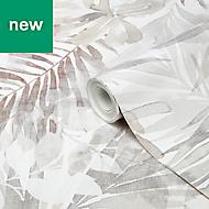 GoodHome Jarava Beige Leaves Wallpaper